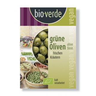 Oliven grün entsteint mariniert mit Kräutern